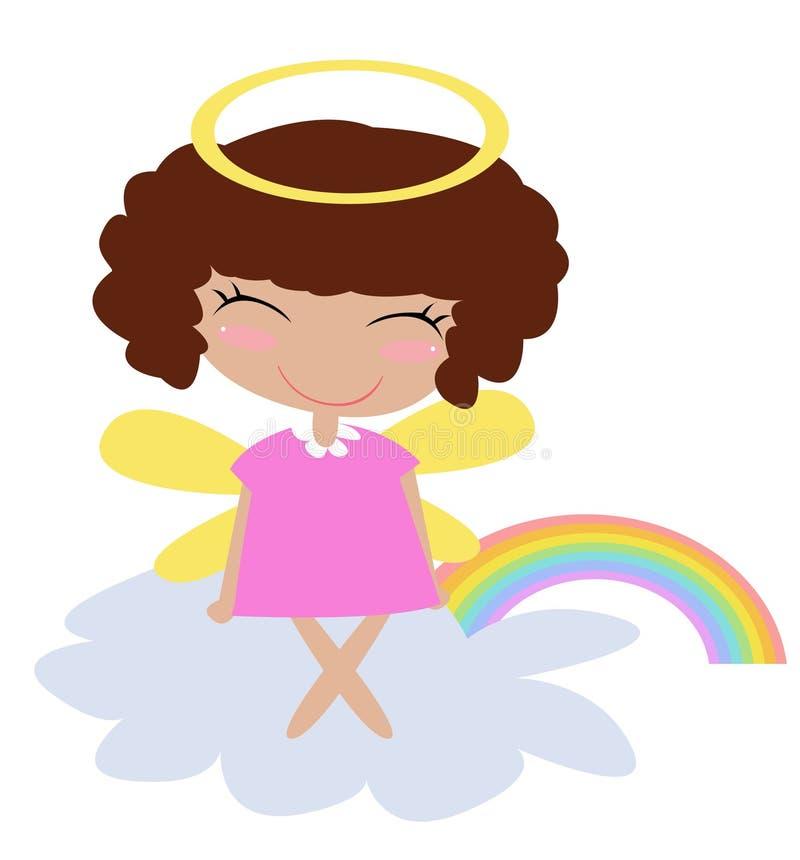Anjo e arco-íris ilustração do vetor