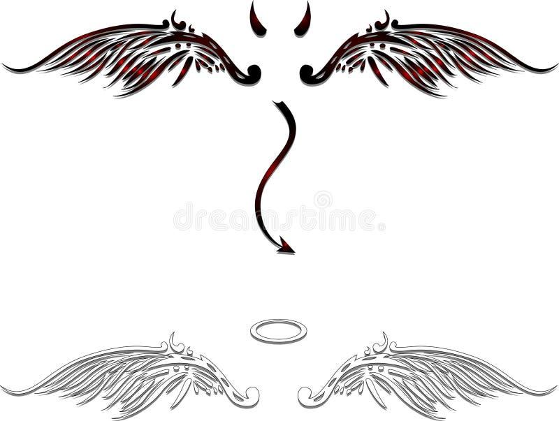 Anjo e asas do demônio ilustração do vetor