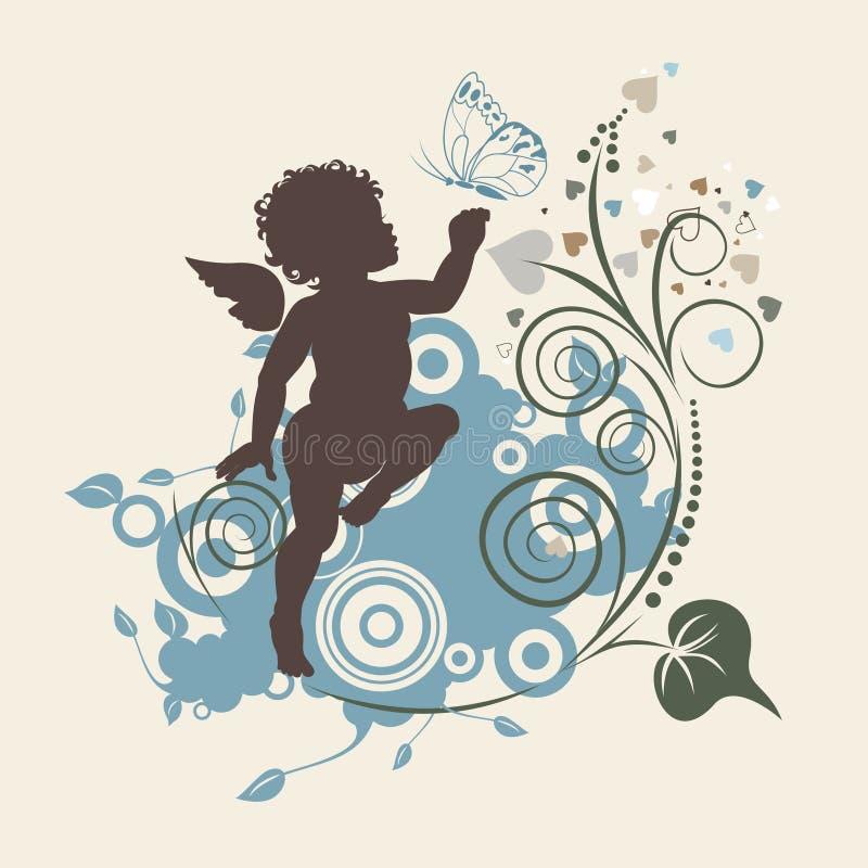 Anjo e borboleta ilustração stock