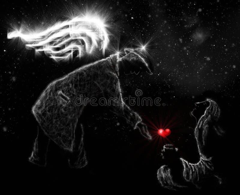Anjo e caminhada ilustração stock