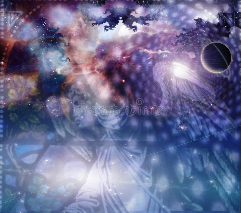 Anjo e composição celestial ilustração stock