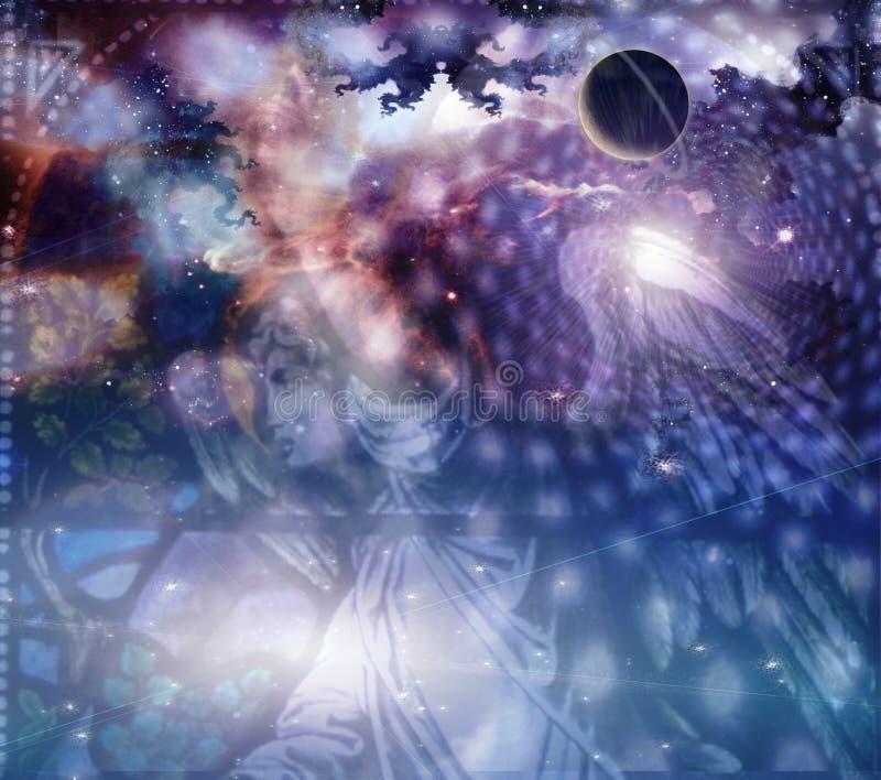 Anjo e composição celestial ilustração do vetor