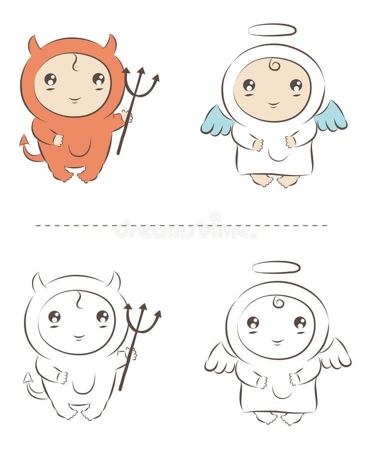 Anjo e demónio ilustração do vetor