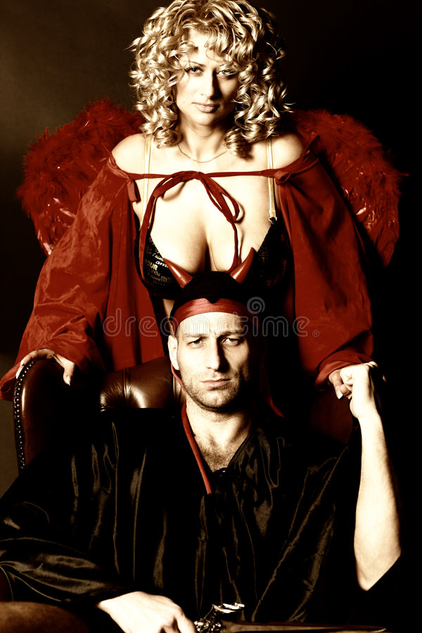 Anjo e diabo foto de stock