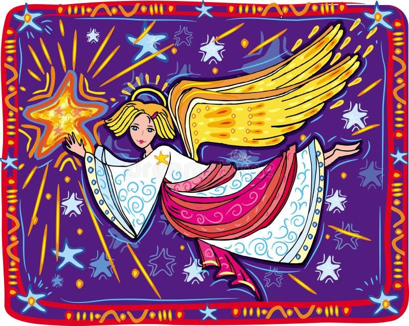 Anjo e estrela do Natal ilustração royalty free