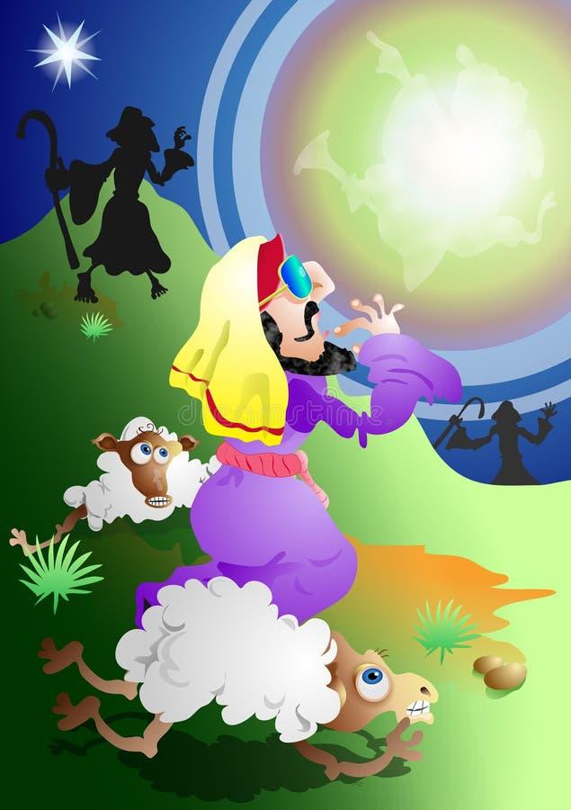 Anjo e pastores ilustração royalty free