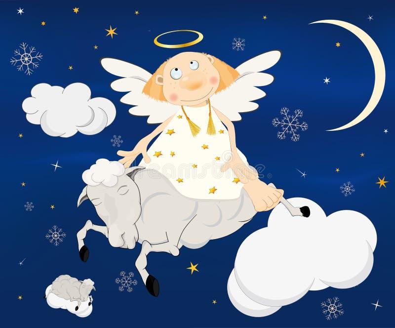 Anjo em um cordeiro ilustração royalty free