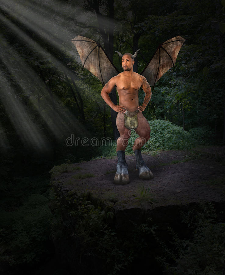 Anjo escuro, diabo, mal, floresta imagem de stock royalty free