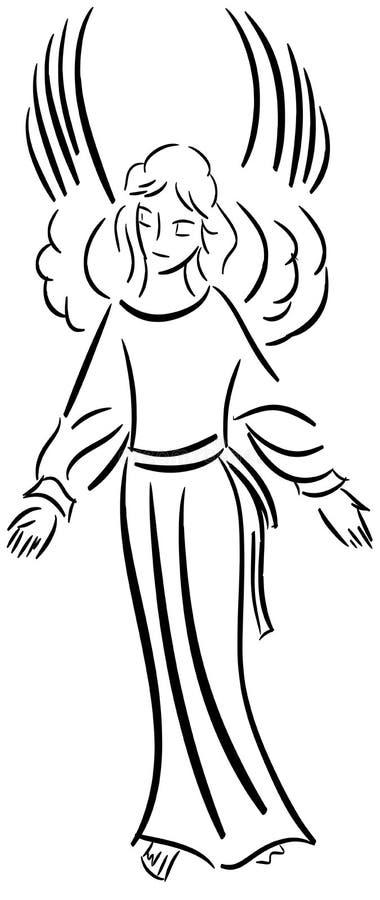 Anjo estilizado no preto isolado ilustração do vetor