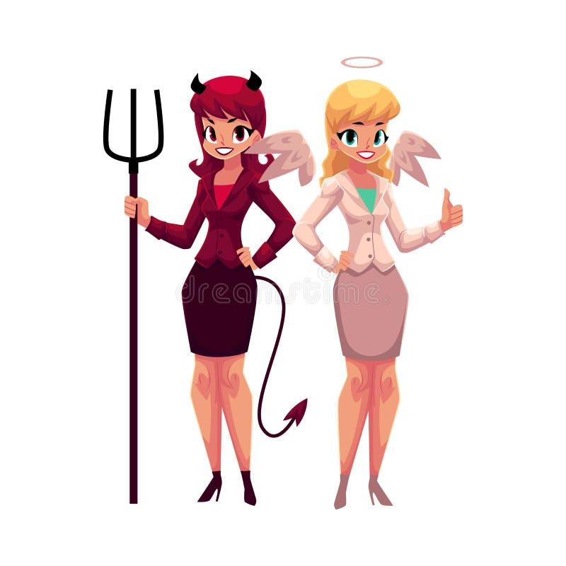 Anjo fêmea e diabo em ternos de negócio, conceito da tomada de decisão ilustração royalty free