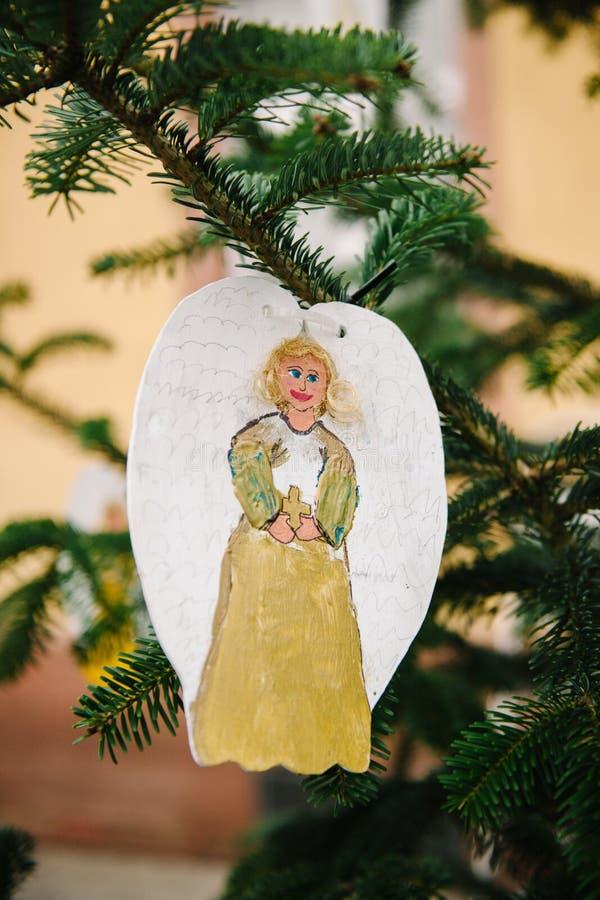 Anjo feito a mão do Natal fotos de stock