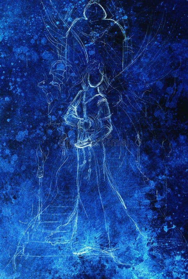 Anjo místico da mulher que está na escadaria com o portal na parte superior ilustração do vetor