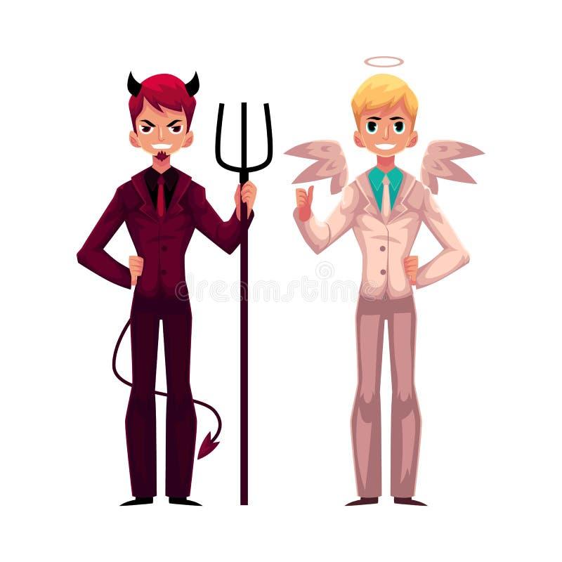 Anjo masculino e diabo em ternos de negócio, conceito da tomada de decisão ilustração royalty free