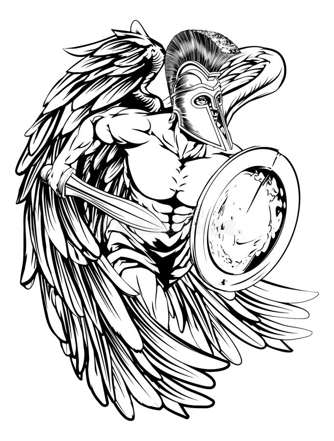 Anjo na armadura ilustração do vetor