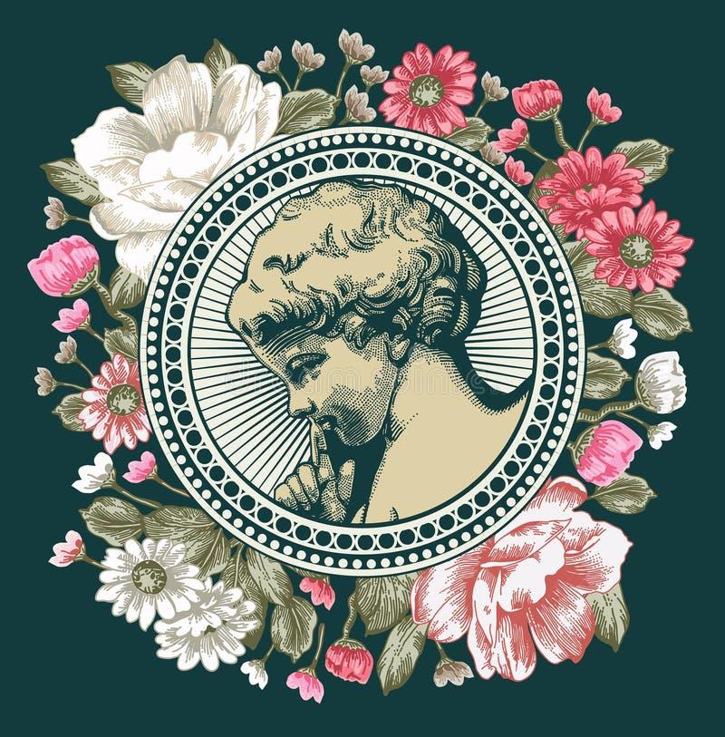 Anjo Oração retro Criança do bebê do menino Cartão do quadro Flores barrocos bonitas Desenho, gravura Ilustração do victorian do  ilustração royalty free