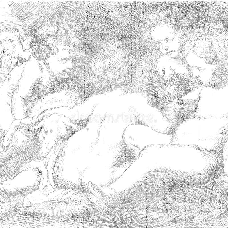 Anjo ou desenho do Cherub ilustração royalty free