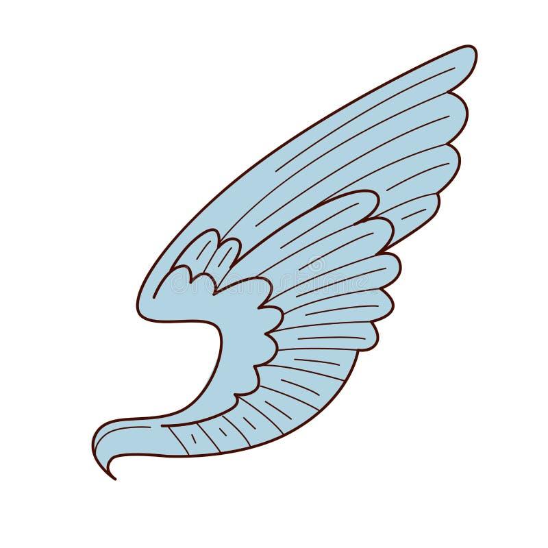 Anjo ou paz do objeto do pássaro e símbolo isolados asa do amor ilustração do vetor
