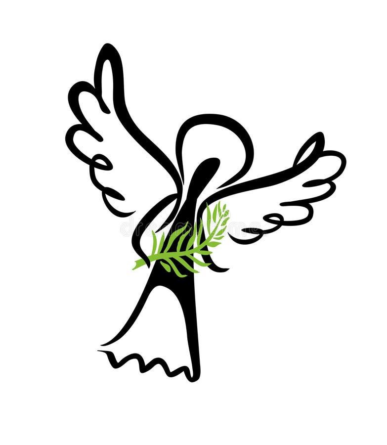 Anjo pintado com um ramo da palma ilustração stock