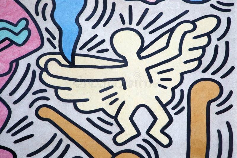 Anjo pintado por Keith Haring imagens de stock royalty free
