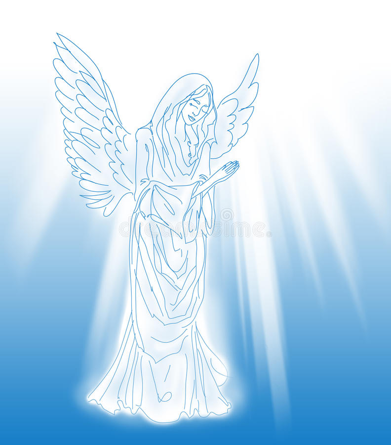 Anjo Praying sobre o fundo azul ilustração stock