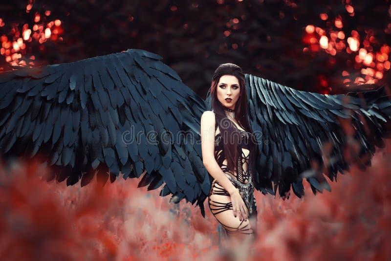 Anjo preto Menina-demônio bonito imagens de stock