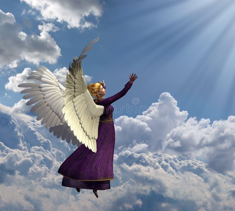 Anjo que alcanga para a luz celestial ilustração stock