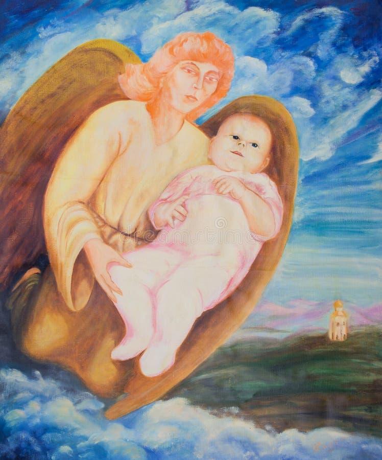 Anjo que guarda um bebê recém-nascido fotografia de stock
