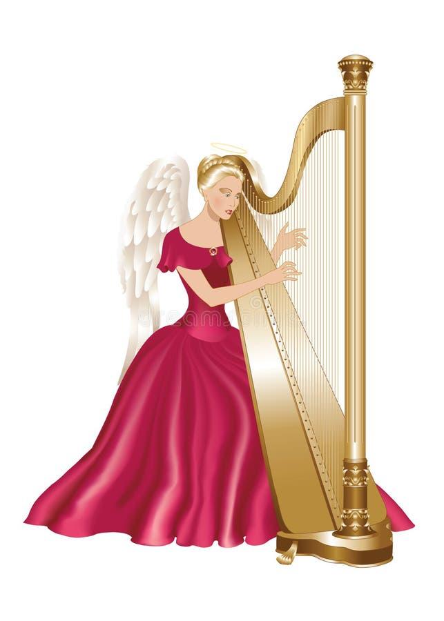 Anjo que joga a harpa ilustração royalty free