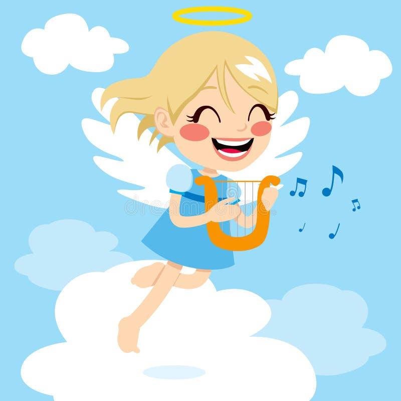 Anjo que joga a harpa ilustração stock