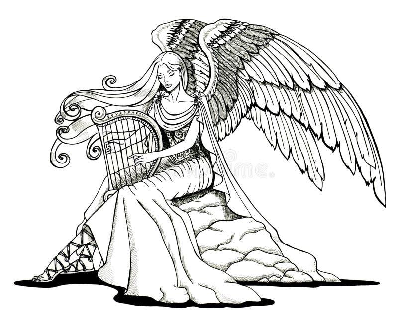 Anjo que joga uma harpa ilustração royalty free