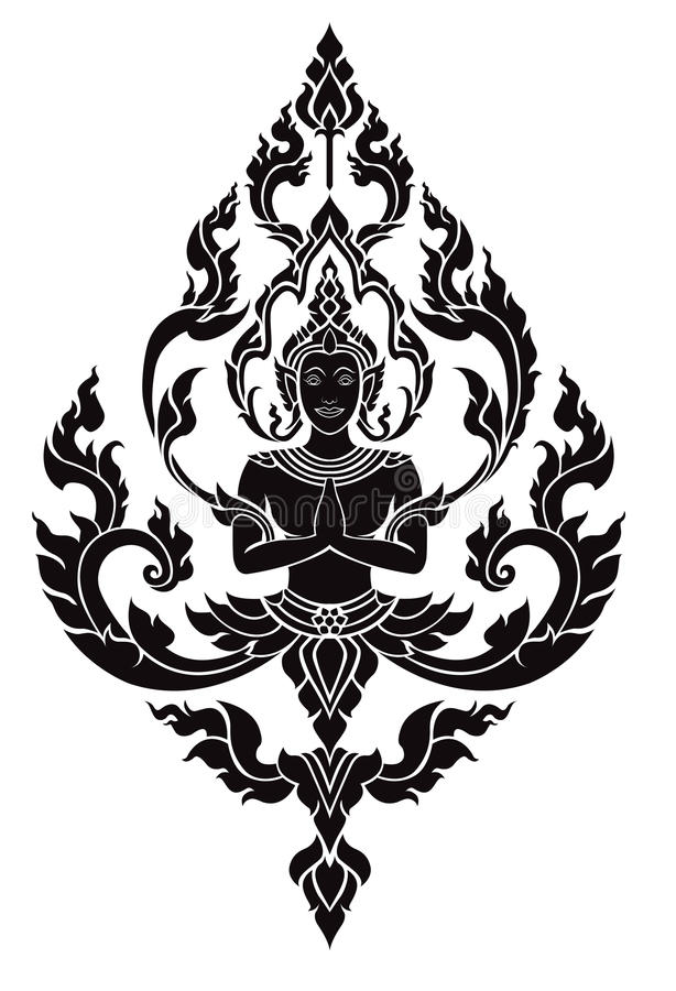 Anjo tailandês das artes, teste padrão do vetor imagens de stock