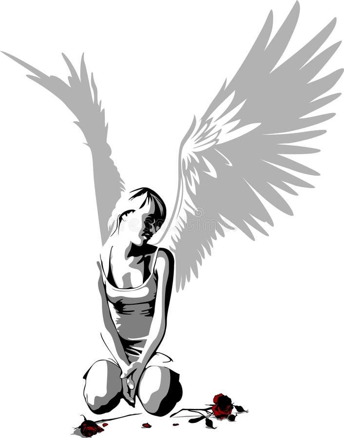 Anjo triste ilustração royalty free