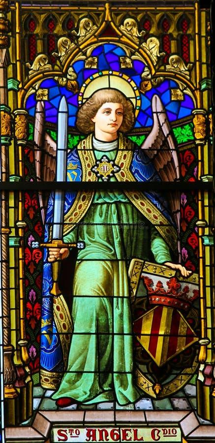 Anjo, vitral, Valencia Cathedral imagem de stock