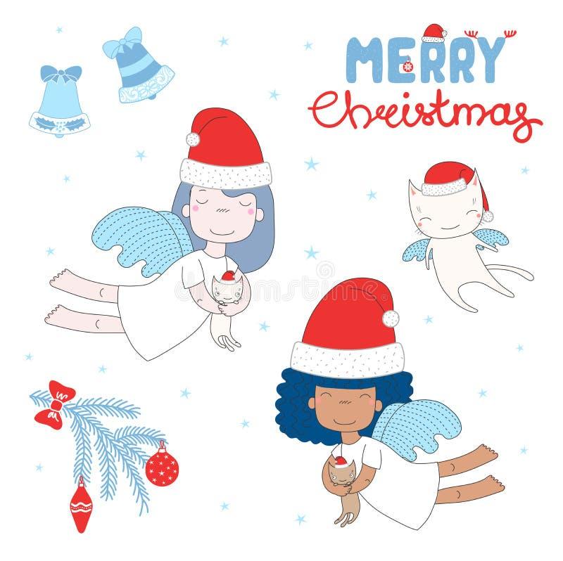 Anjos bonitos do Natal ilustração royalty free