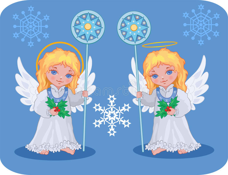 Anjos bonitos do Natal ajustados ilustração royalty free