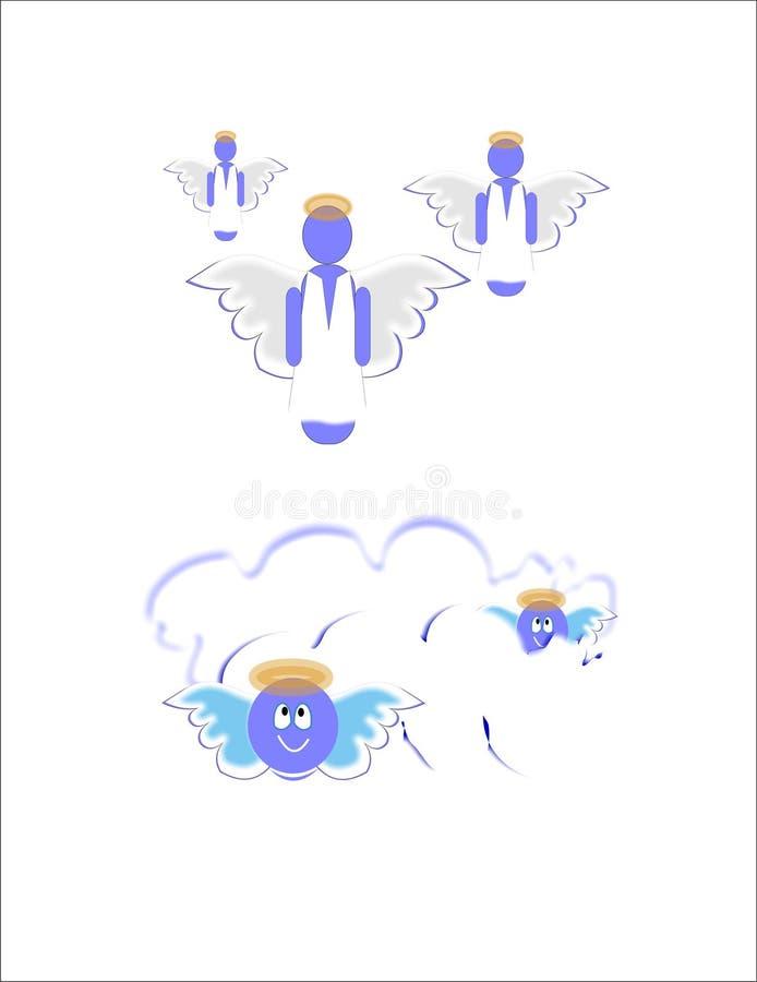 Anjos bonitos em nuvens ilustração royalty free