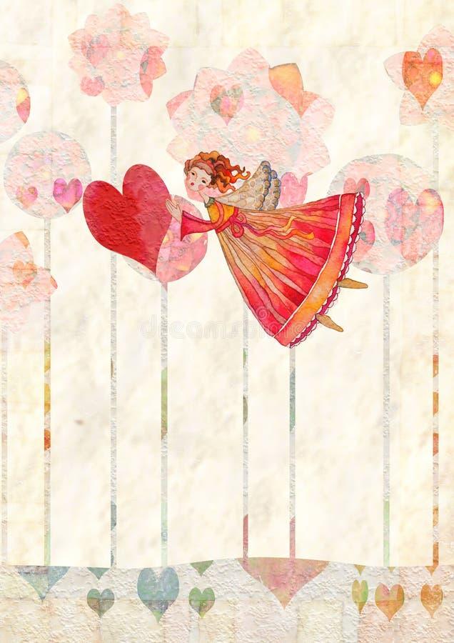 Anjos com coração ilustração do vetor