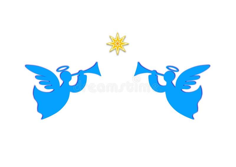 Anjos com trombetas e uma estrela do Natal ilustração royalty free