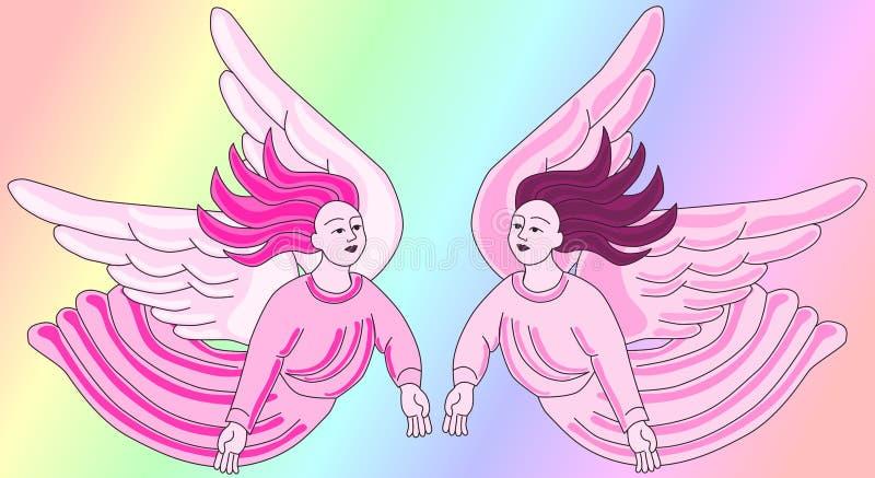 Anjos cor-de-rosa portugueses românticos ilustração stock