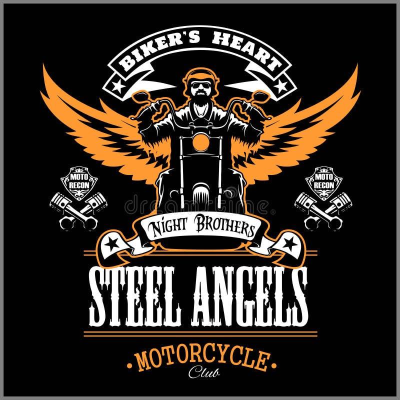 Anjos de Stell - as motocicletas feitas sob encomenda batem o crachá ou a etiqueta com motociclista, asas e chama Legião de Stell ilustração stock