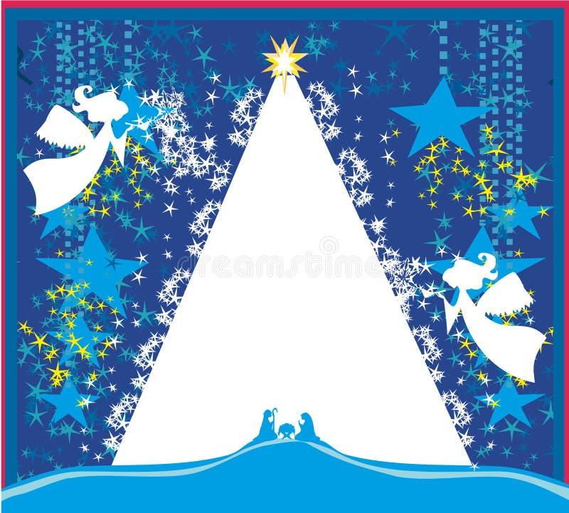 Anjos do Natal Cartão religioso da cena da natividade do Natal ilustração royalty free
