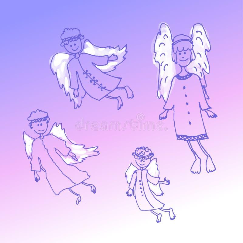 Anjos do Natal da garatuja em um fundo lilás ilustração stock