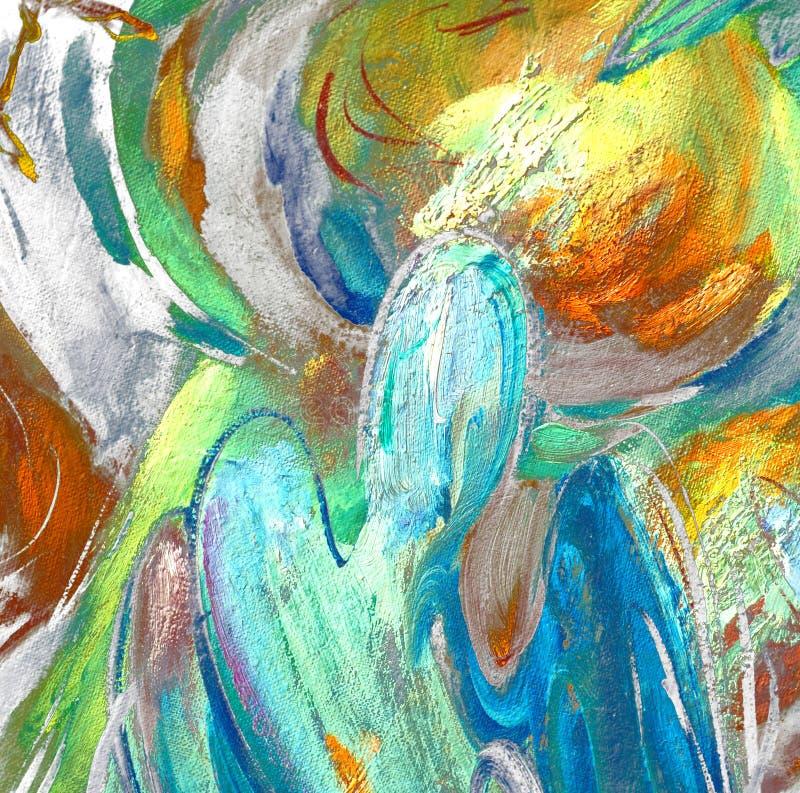 Anjos e abóbadas, pintando pelo óleo na lona ilustração royalty free
