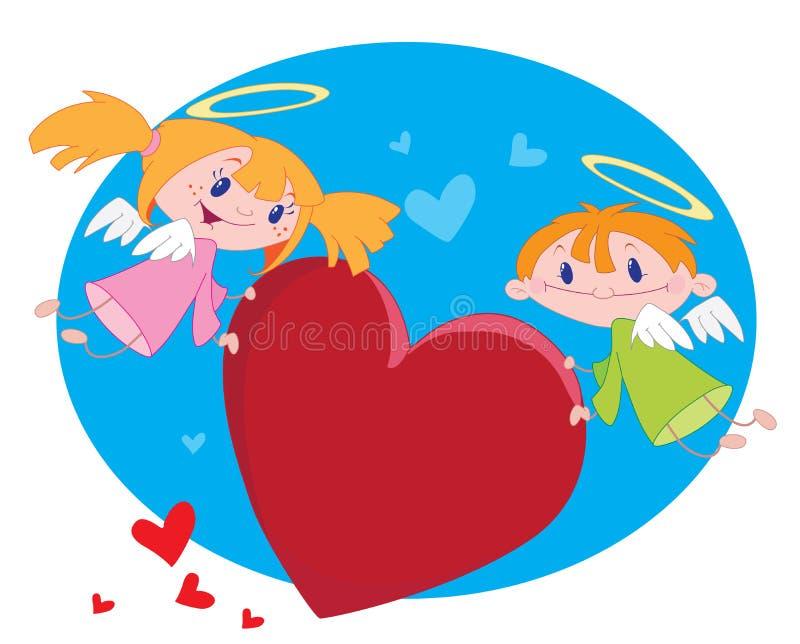Anjos e corações ilustração do vetor