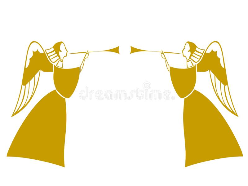 Anjos e glória que cantam e que jogam com trombetas ilustração do vetor