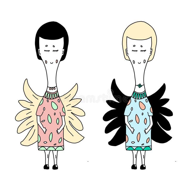 Anjos feericamente com as asas leves e escuras ilustração do vetor
