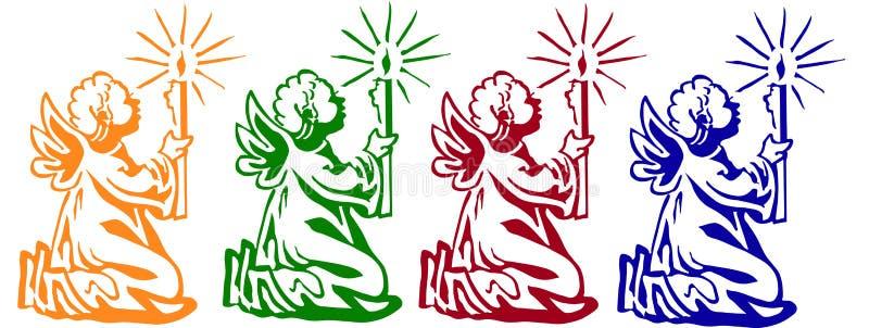 Anjos pequenos coloridos ilustração royalty free