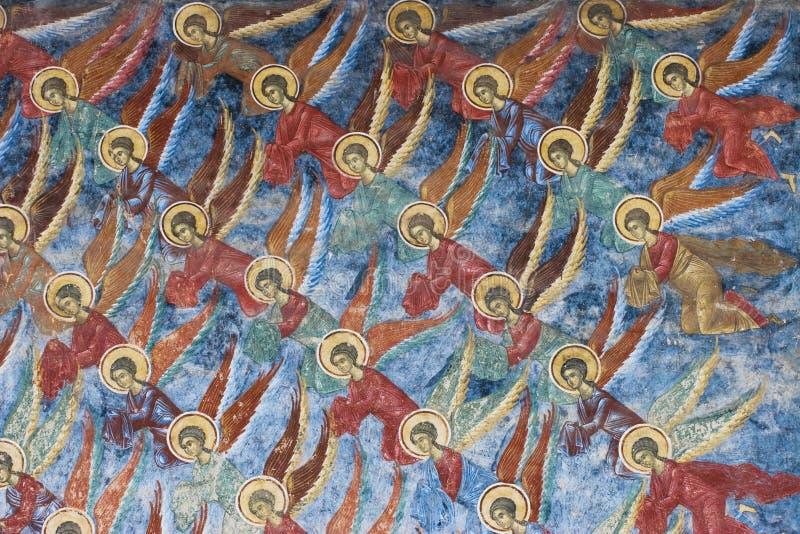 Anjos. Pintura do monastério de Sucevita (Romania) fotos de stock