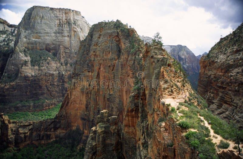 Anjos que aterram a fuga no parque nacional de Zion imagem de stock