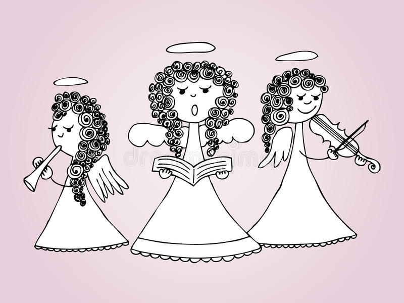 Anjos que cantam e que jogam canções de natal ilustração royalty free